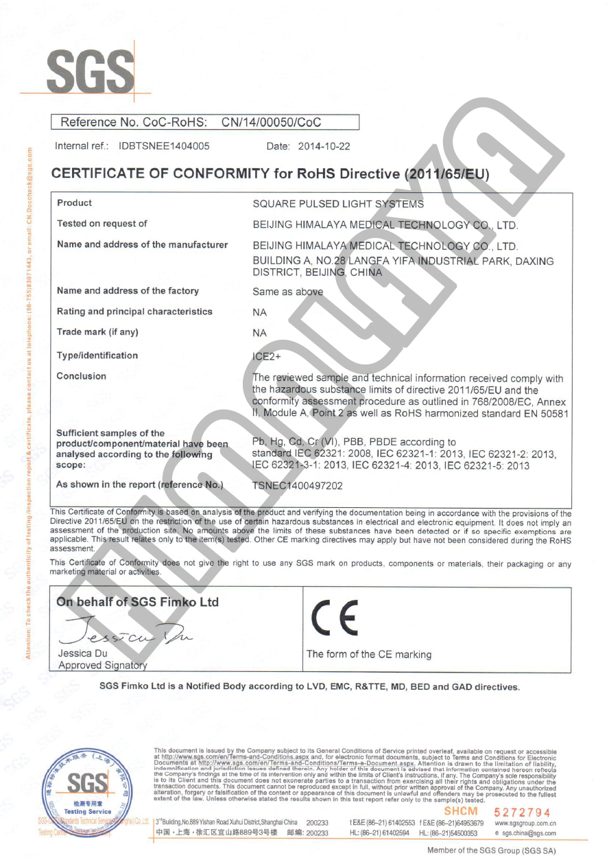 Certificationbeijing himalaya medical technology co ltd certification of conformity for rohs directive 201165eu 1betcityfo Image collections